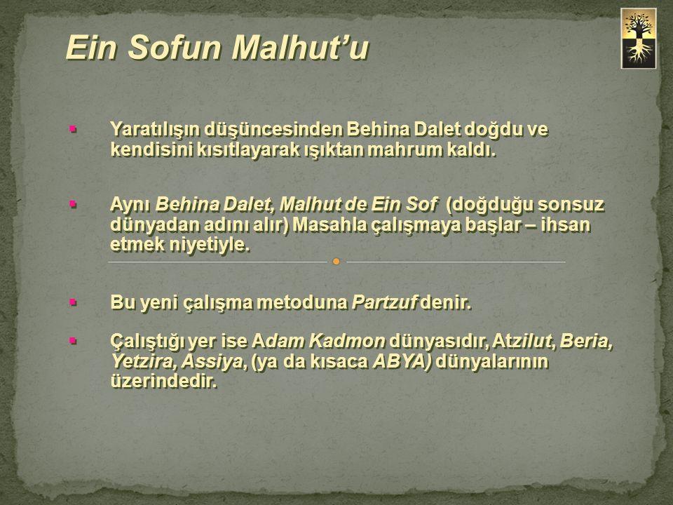 Ein Sofun Malhut'u Yaratılışın düşüncesinden Behina Dalet doğdu ve kendisini kısıtlayarak ışıktan mahrum kaldı.