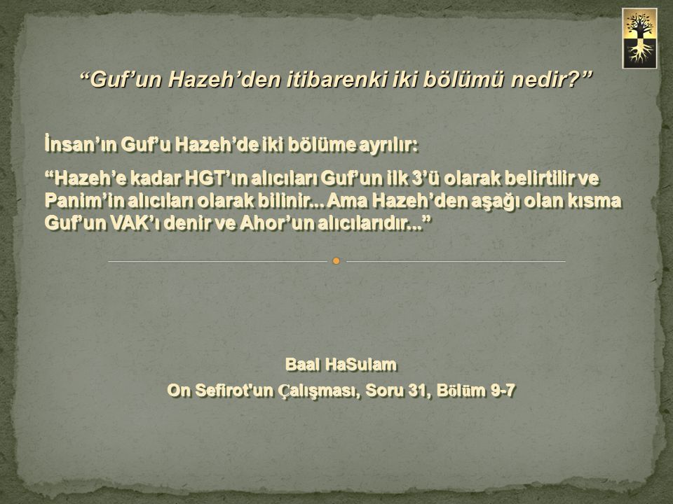 Guf'un Hazeh'den itibarenki iki bölümü nedir