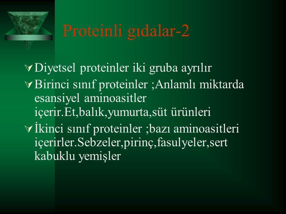 Proteinli gıdalar-2 Diyetsel proteinler iki gruba ayrılır