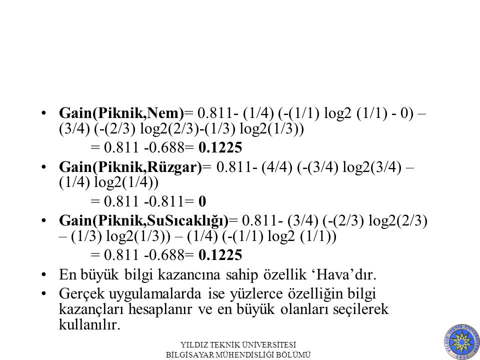 Gain(Piknik,Rüzgar)= 0.811- (4/4) (-(3/4) log2(3/4) – (1/4) log2(1/4))
