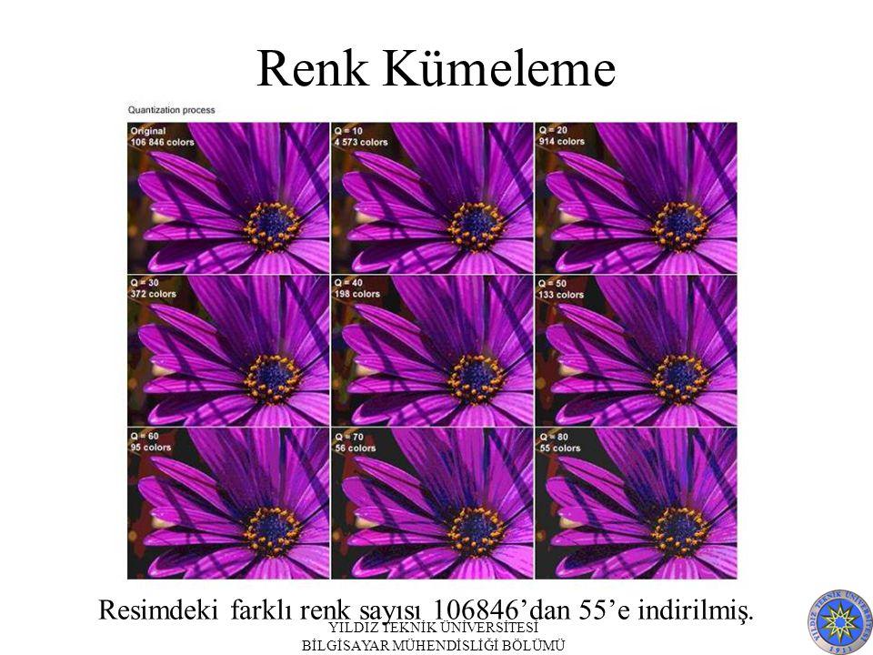 Renk Kümeleme Resimdeki farklı renk sayısı 106846'dan 55'e indirilmiş.