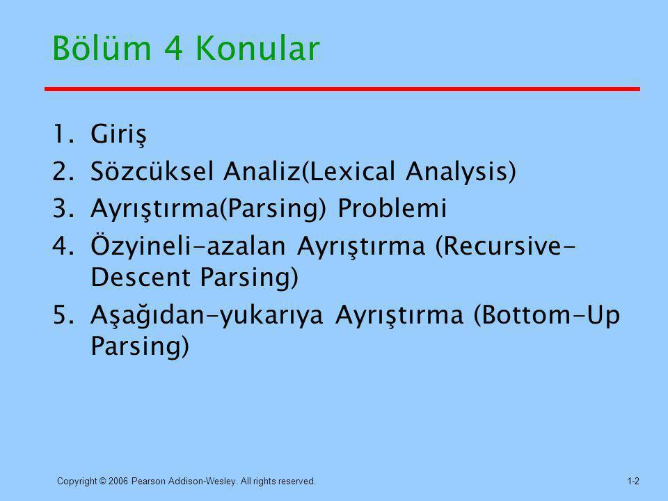 Bölüm 4 Konular Giriş Sözcüksel Analiz(Lexical Analysis)