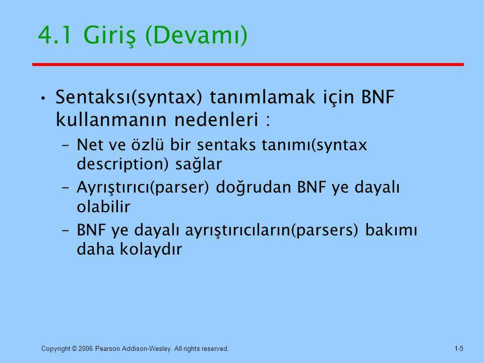 4.1 Giriş (Devamı) Sentaksı(syntax) tanımlamak için BNF kullanmanın nedenleri : Net ve özlü bir sentaks tanımı(syntax description) sağlar.
