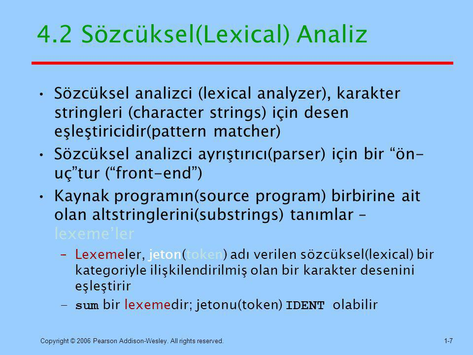 4.2 Sözcüksel(Lexical) Analiz