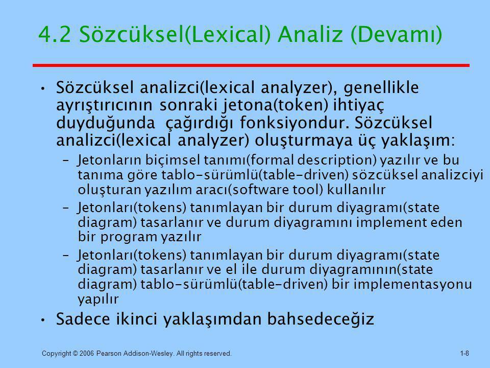 4.2 Sözcüksel(Lexical) Analiz (Devamı)
