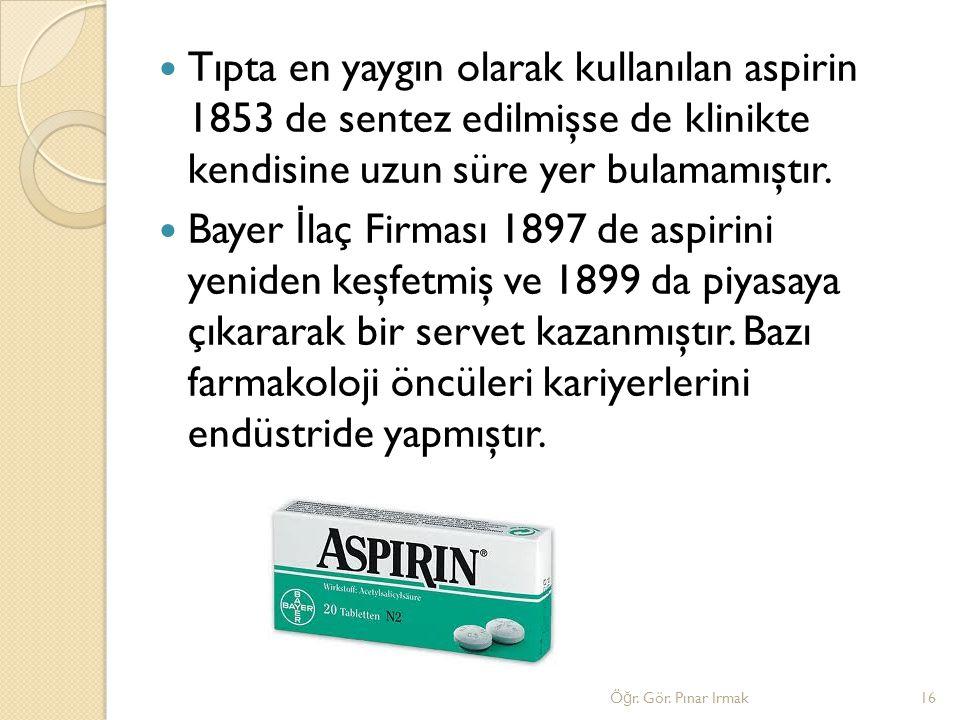 Tıpta en yaygın olarak kullanılan aspirin 1853 de sentez edilmişse de klinikte kendisine uzun süre yer bulamamıştır.