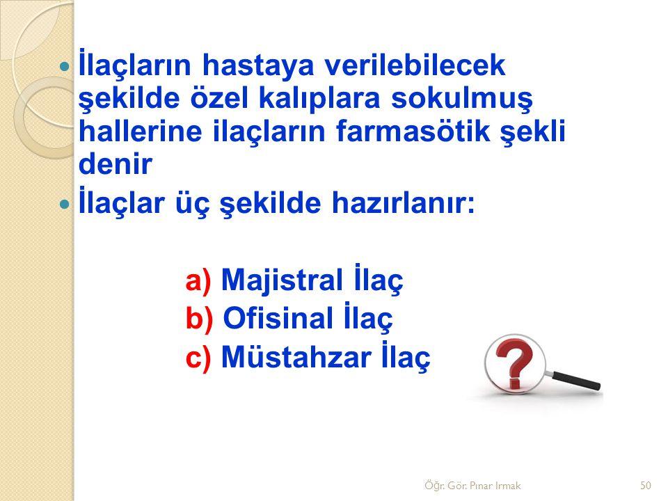 İlaçlar üç şekilde hazırlanır: a) Majistral İlaç b) Ofisinal İlaç