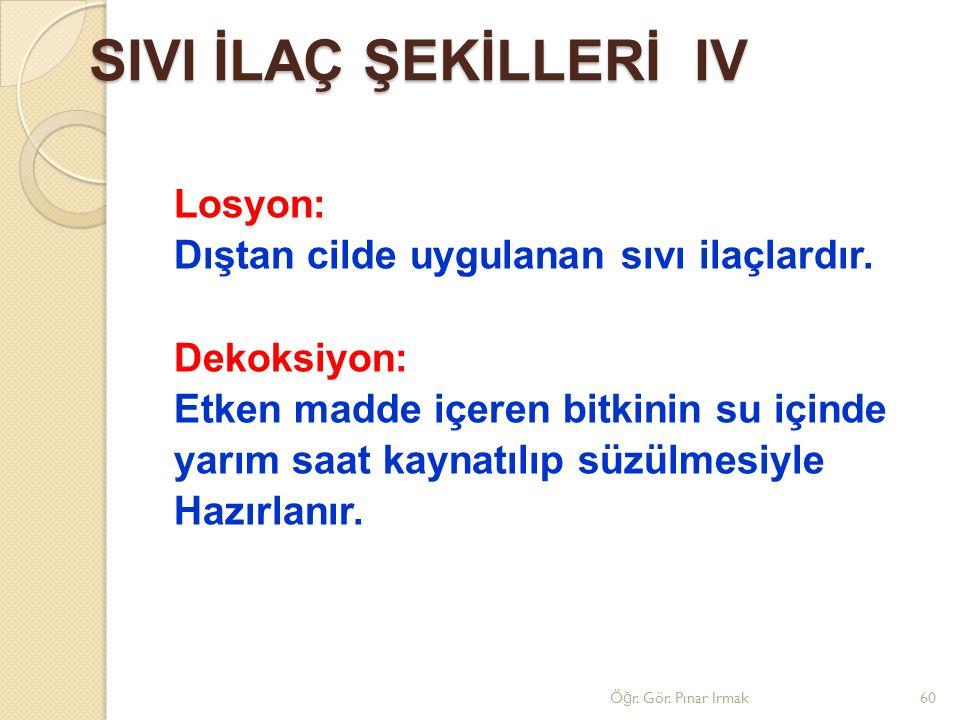 SIVI İLAÇ ŞEKİLLERİ IV Losyon: Dıştan cilde uygulanan sıvı ilaçlardır.