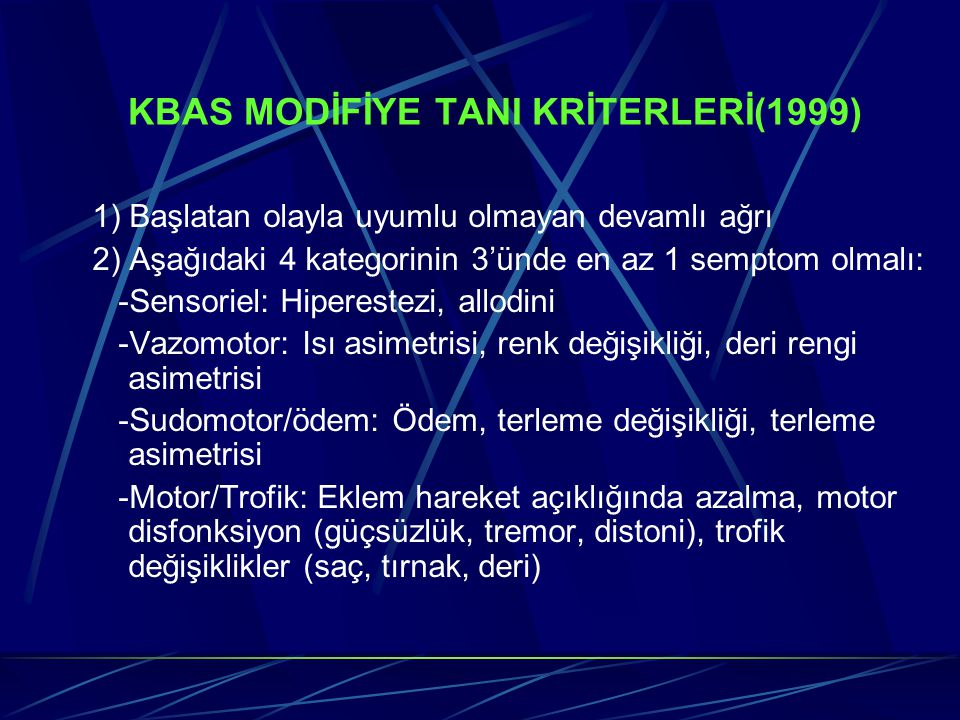 KBAS MODİFİYE TANI KRİTERLERİ(1999)
