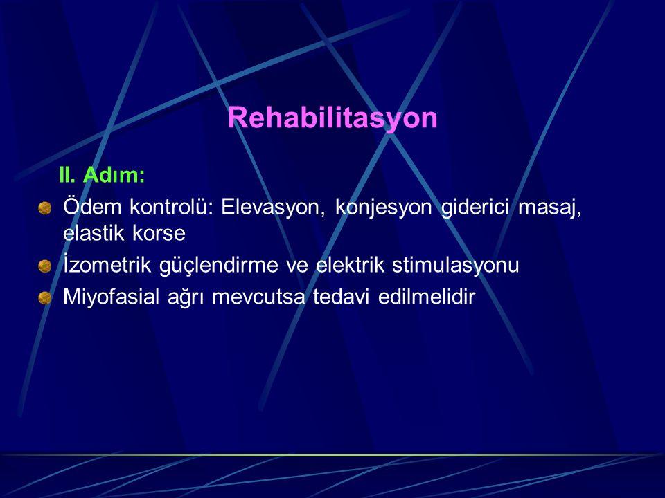 Rehabilitasyon II. Adım: Ödem kontrolü: Elevasyon, konjesyon giderici masaj, elastik korse. İzometrik güçlendirme ve elektrik stimulasyonu.