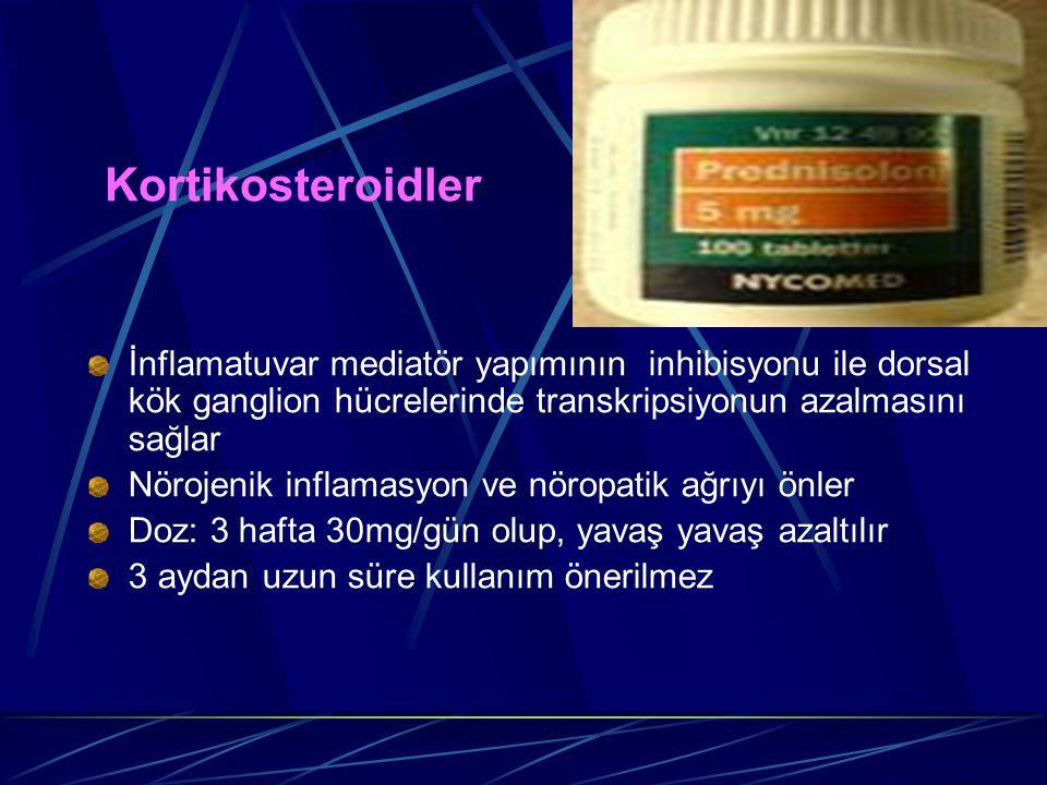 Kortikosteroidler İnflamatuvar mediatör yapımının inhibisyonu ile dorsal kök ganglion hücrelerinde transkripsiyonun azalmasını sağlar.