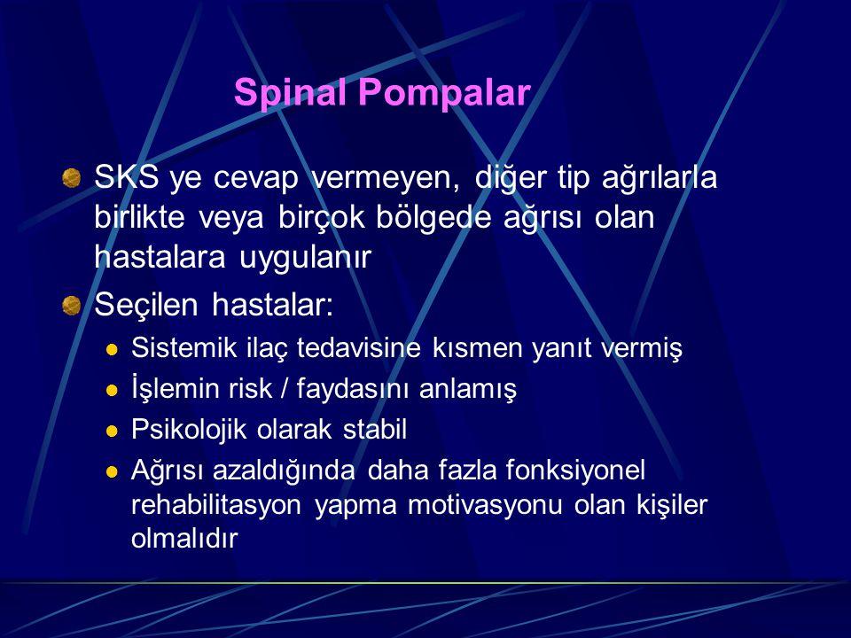 Spinal Pompalar SKS ye cevap vermeyen, diğer tip ağrılarla birlikte veya birçok bölgede ağrısı olan hastalara uygulanır.