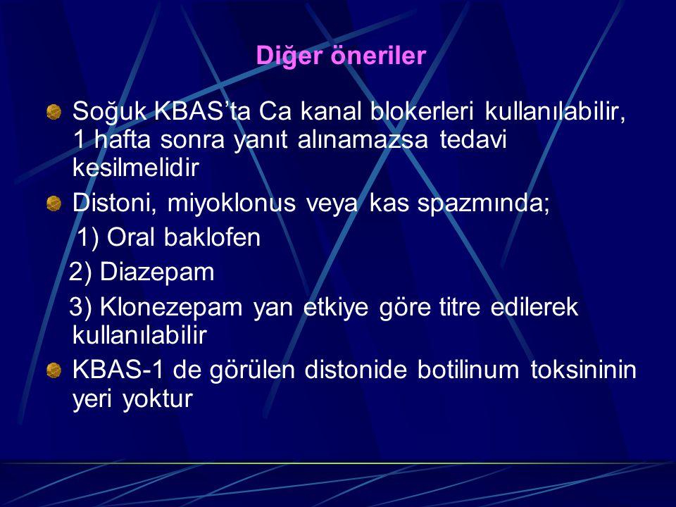 Diğer öneriler Soğuk KBAS'ta Ca kanal blokerleri kullanılabilir, 1 hafta sonra yanıt alınamazsa tedavi kesilmelidir.