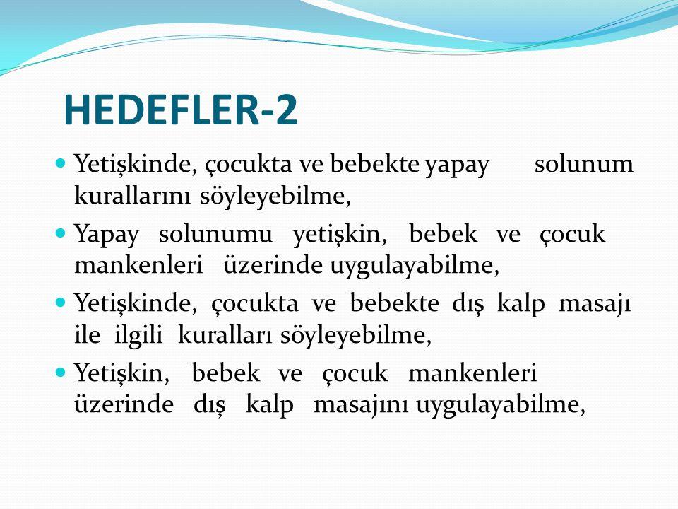 HEDEFLER-2 Yetişkinde, çocukta ve bebekte yapay solunum kurallarını söyleyebilme,