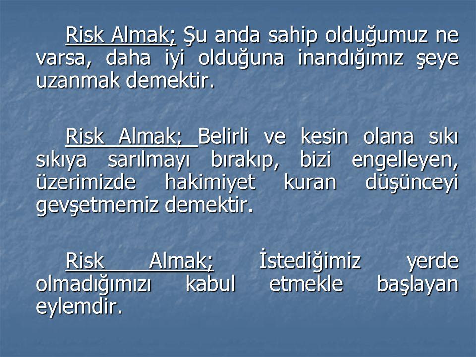 Risk Almak; Şu anda sahip olduğumuz ne varsa, daha iyi olduğuna inandığımız şeye uzanmak demektir.
