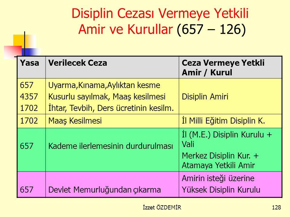 Disiplin Cezası Vermeye Yetkili Amir ve Kurullar (657 – 126)