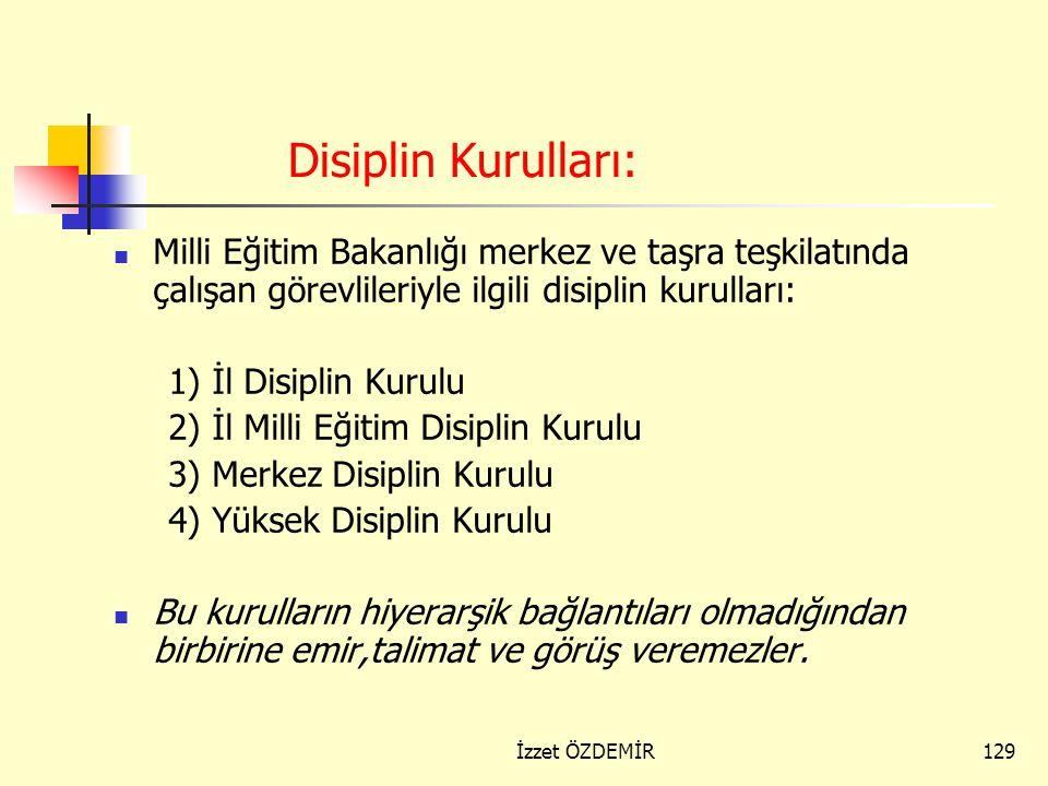 Disiplin Kurulları: Milli Eğitim Bakanlığı merkez ve taşra teşkilatında çalışan görevlileriyle ilgili disiplin kurulları: