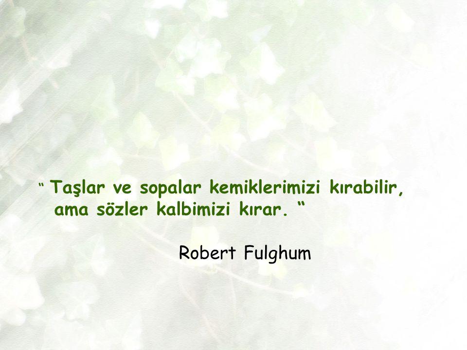 ama sözler kalbimizi kırar. Robert Fulghum