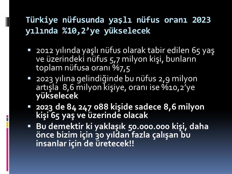 Türkiye nüfusunda yaşlı nüfus oranı 2023 yılında %10,2'ye yükselecek