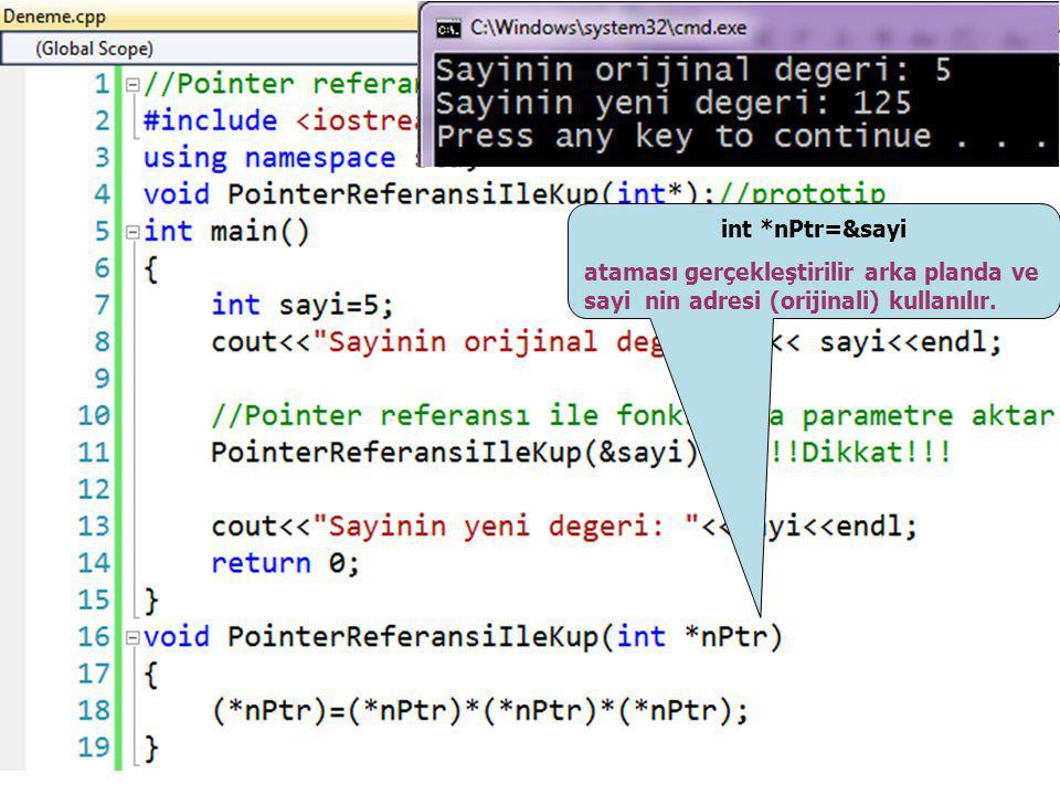 int *nPtr=&sayi ataması gerçekleştirilir arka planda ve sayi nin adresi (orijinali) kullanılır. //Pointer referansı ile bir değişkeninin küpü.