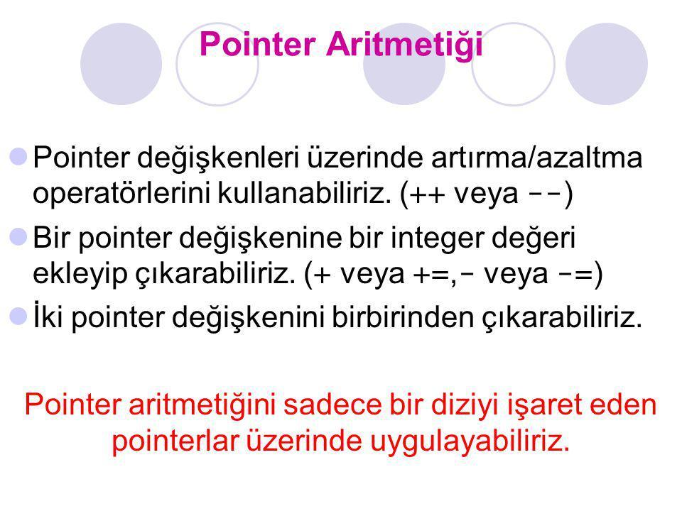 Pointer Aritmetiği Pointer değişkenleri üzerinde artırma/azaltma operatörlerini kullanabiliriz. (++ veya --)