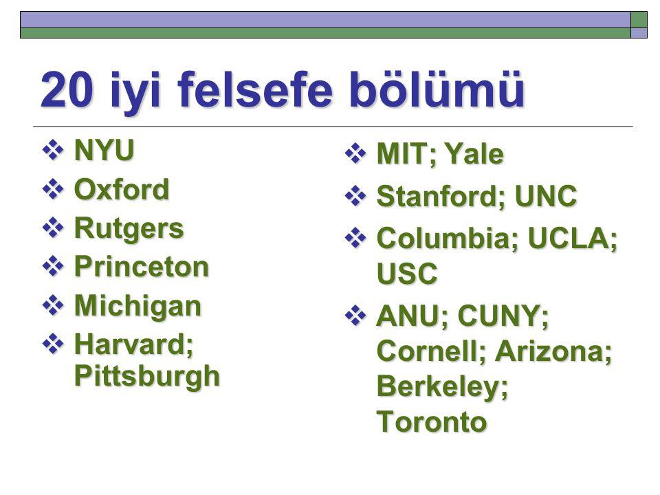 20 iyi felsefe bölümü NYU Oxford Rutgers Princeton Michigan