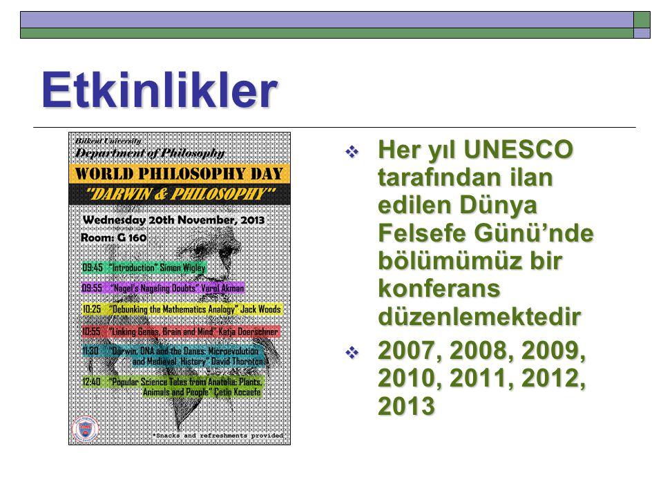 Etkinlikler Her yıl UNESCO tarafından ilan edilen Dünya Felsefe Günü'nde bölümümüz bir konferans düzenlemektedir.