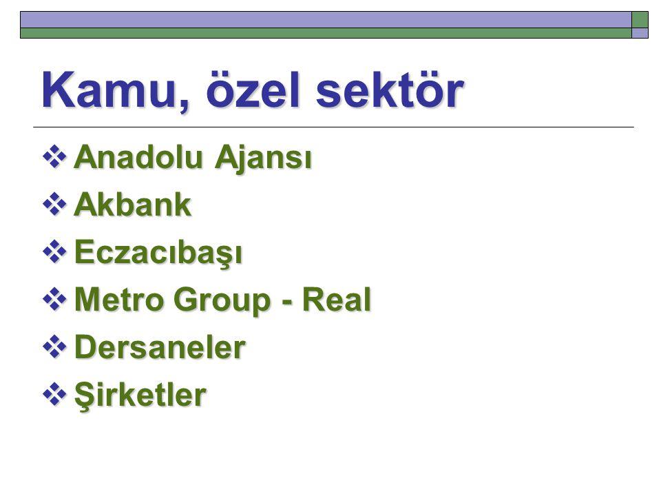 Kamu, özel sektör Anadolu Ajansı Akbank Eczacıbaşı Metro Group - Real