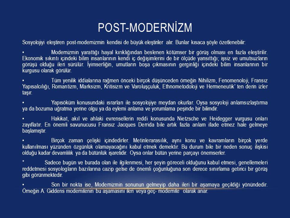 Post-modernİzm Sosyolojiyi eleştiren post-modernizmin kendisi de büyük eleştiriler alır. Bunlar kısaca şöyle özetlenebilir:
