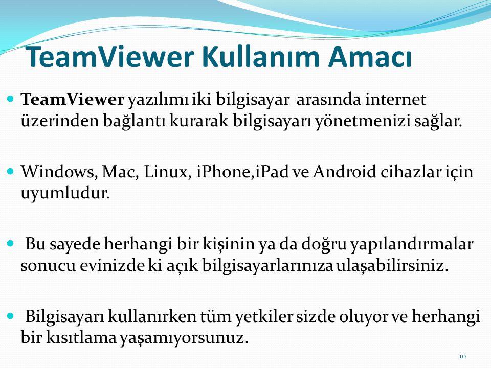 TeamViewer Kullanım Amacı
