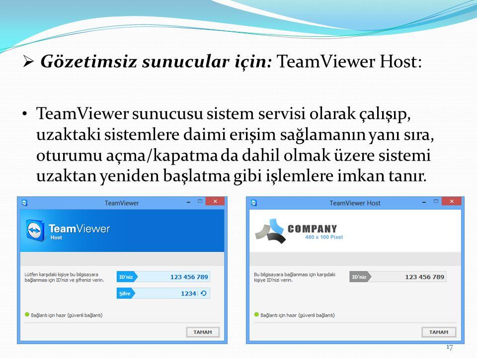 Gözetimsiz sunucular için: TeamViewer Host: