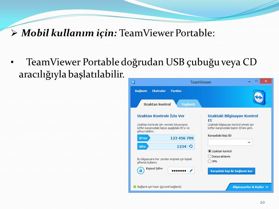 Mobil kullanım için: TeamViewer Portable: