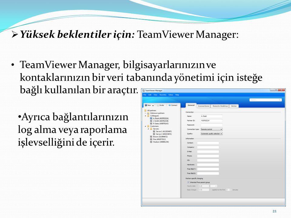 Yüksek beklentiler için: TeamViewer Manager: