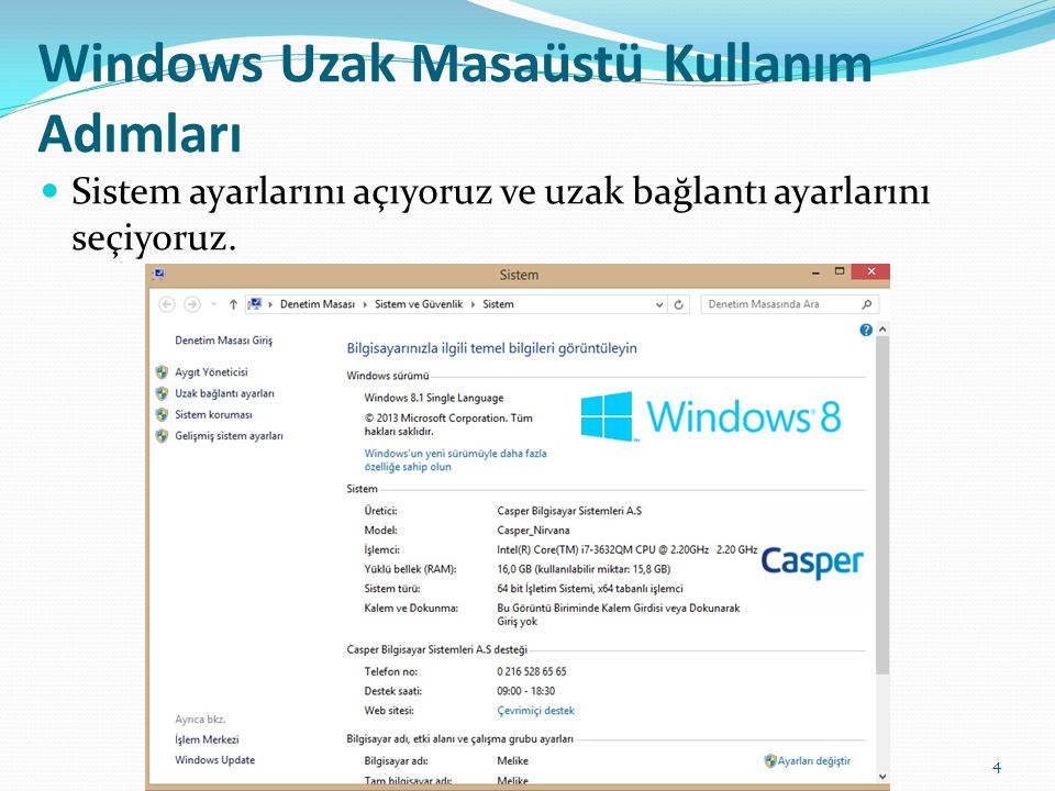 Windows Uzak Masaüstü Kullanım Adımları