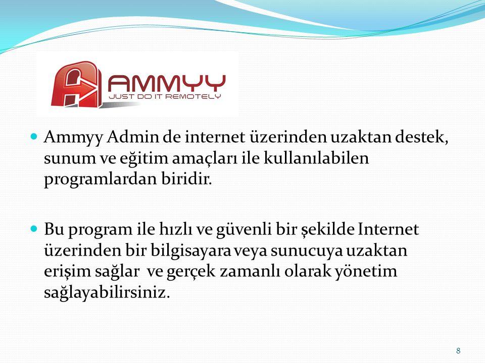Ammyy Admin de internet üzerinden uzaktan destek, sunum ve eğitim amaçları ile kullanılabilen programlardan biridir.
