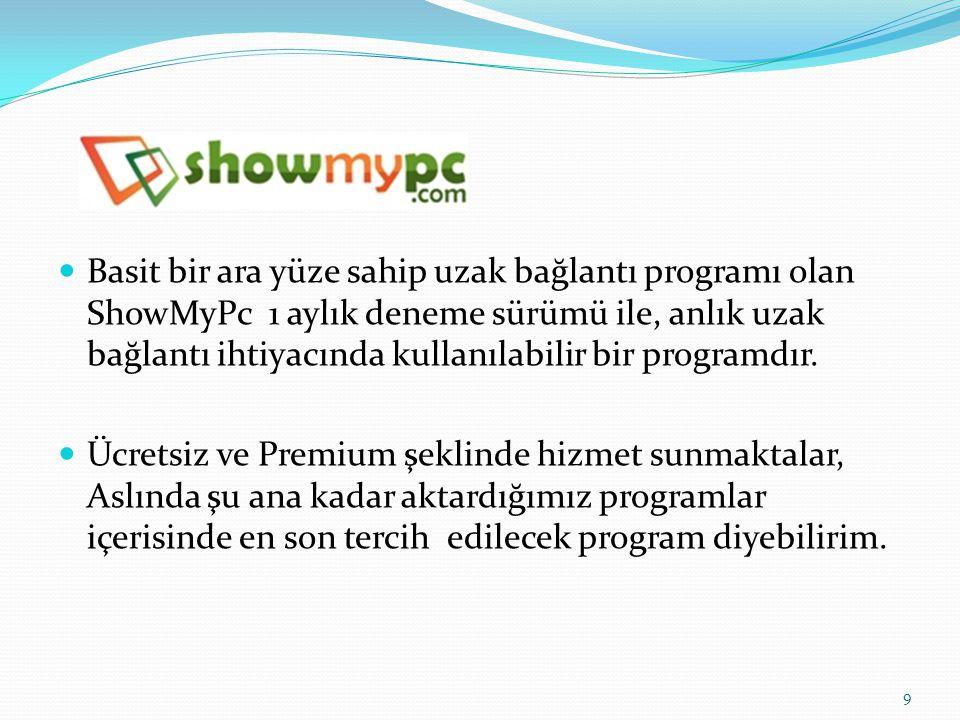 Basit bir ara yüze sahip uzak bağlantı programı olan ShowMyPc 1 aylık deneme sürümü ile, anlık uzak bağlantı ihtiyacında kullanılabilir bir programdır.