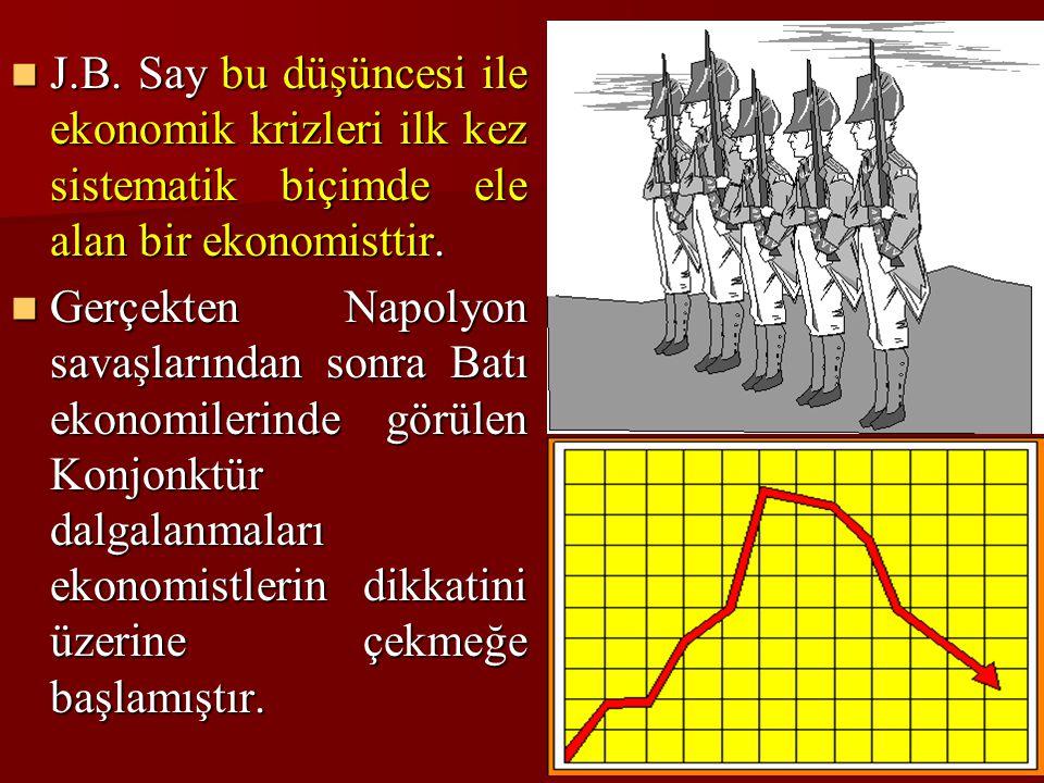 J.B. Say bu düşüncesi ile ekonomik krizleri ilk kez sistematik biçimde ele alan bir ekonomisttir.