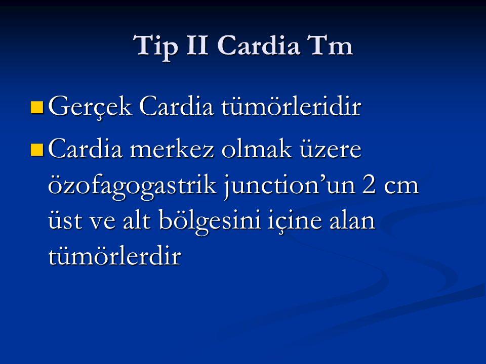 Tip II Cardia Tm Gerçek Cardia tümörleridir.