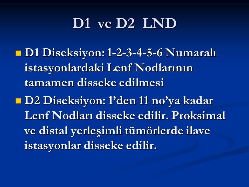 D1 ve D2 LND D1 Diseksiyon: 1-2-3-4-5-6 Numaralı istasyonlardaki Lenf Nodlarının tamamen disseke edilmesi.