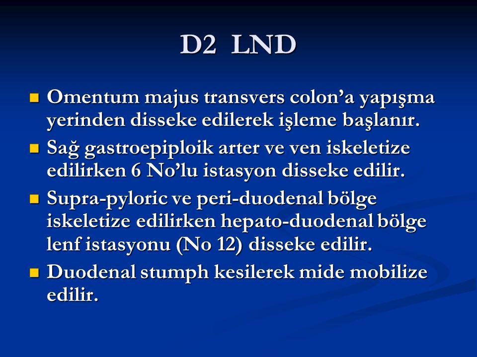 D2 LND Omentum majus transvers colon'a yapışma yerinden disseke edilerek işleme başlanır.