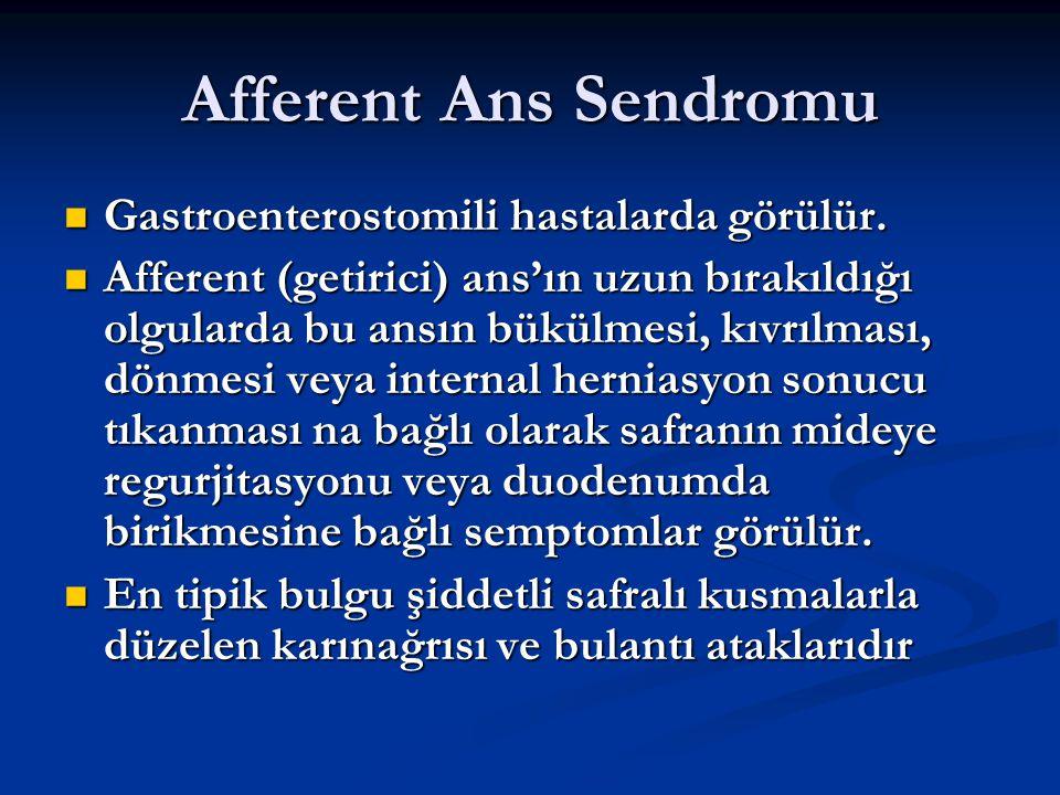 Afferent Ans Sendromu Gastroenterostomili hastalarda görülür.