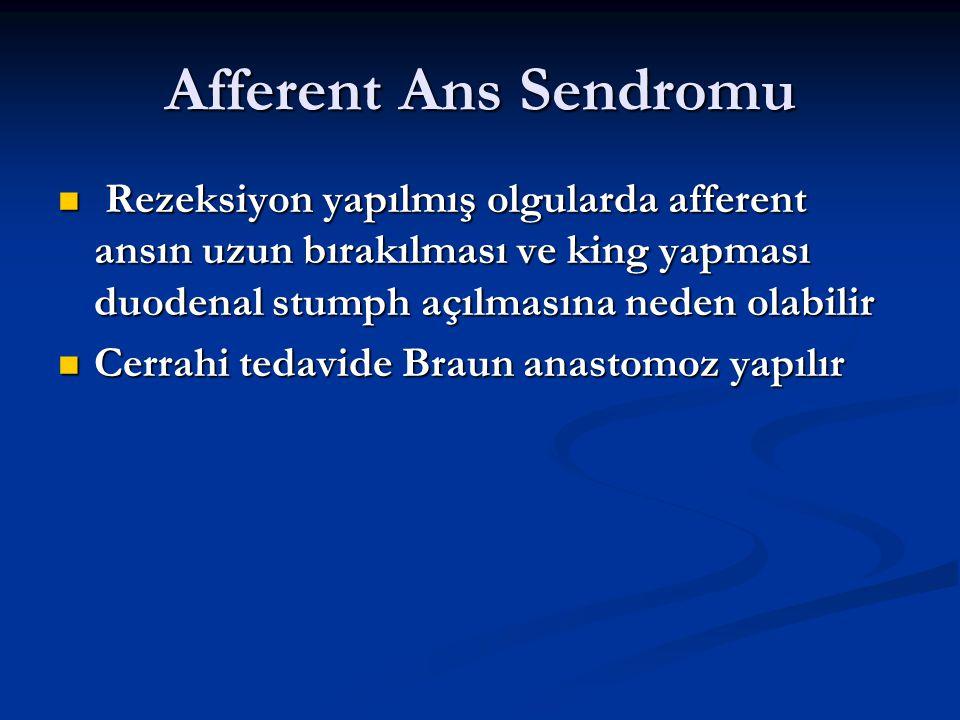 Afferent Ans Sendromu Rezeksiyon yapılmış olgularda afferent ansın uzun bırakılması ve king yapması duodenal stumph açılmasına neden olabilir.