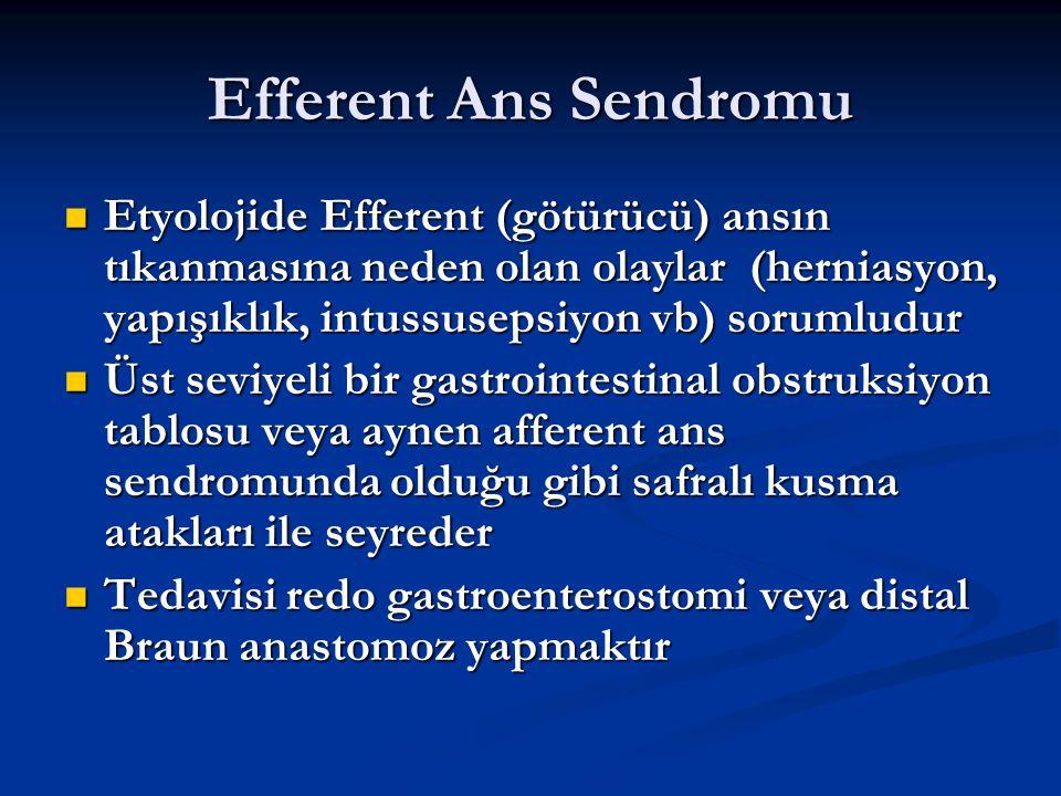 Efferent Ans Sendromu Etyolojide Efferent (götürücü) ansın tıkanmasına neden olan olaylar (herniasyon, yapışıklık, intussusepsiyon vb) sorumludur.