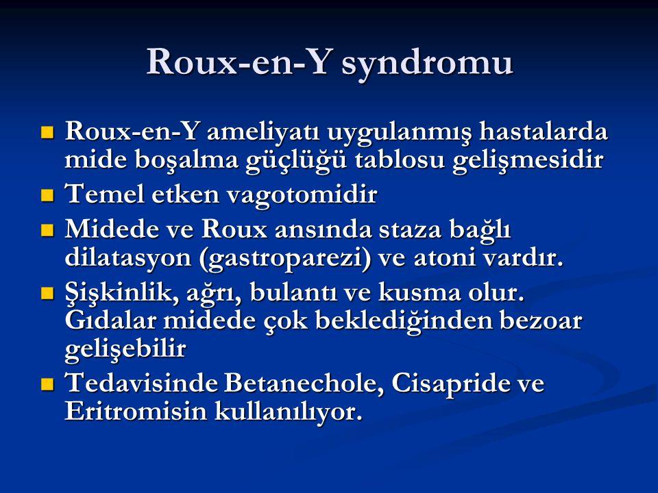 Roux-en-Y syndromu Roux-en-Y ameliyatı uygulanmış hastalarda mide boşalma güçlüğü tablosu gelişmesidir.