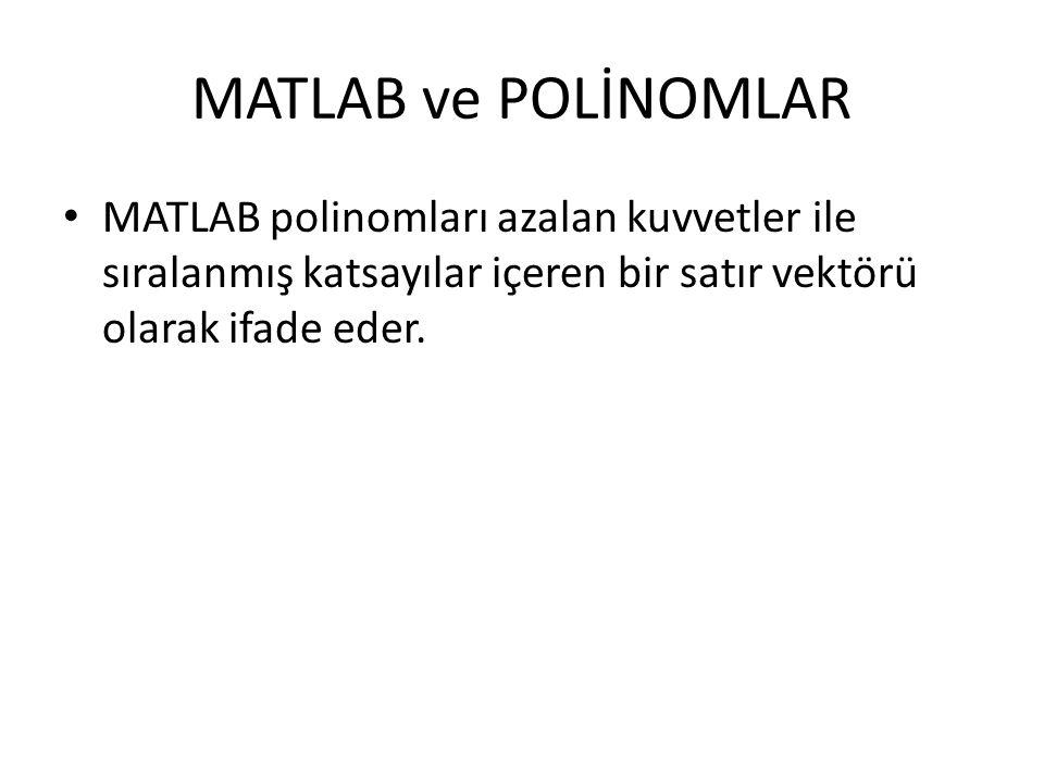 MATLAB ve POLİNOMLAR MATLAB polinomları azalan kuvvetler ile sıralanmış katsayılar içeren bir satır vektörü olarak ifade eder.