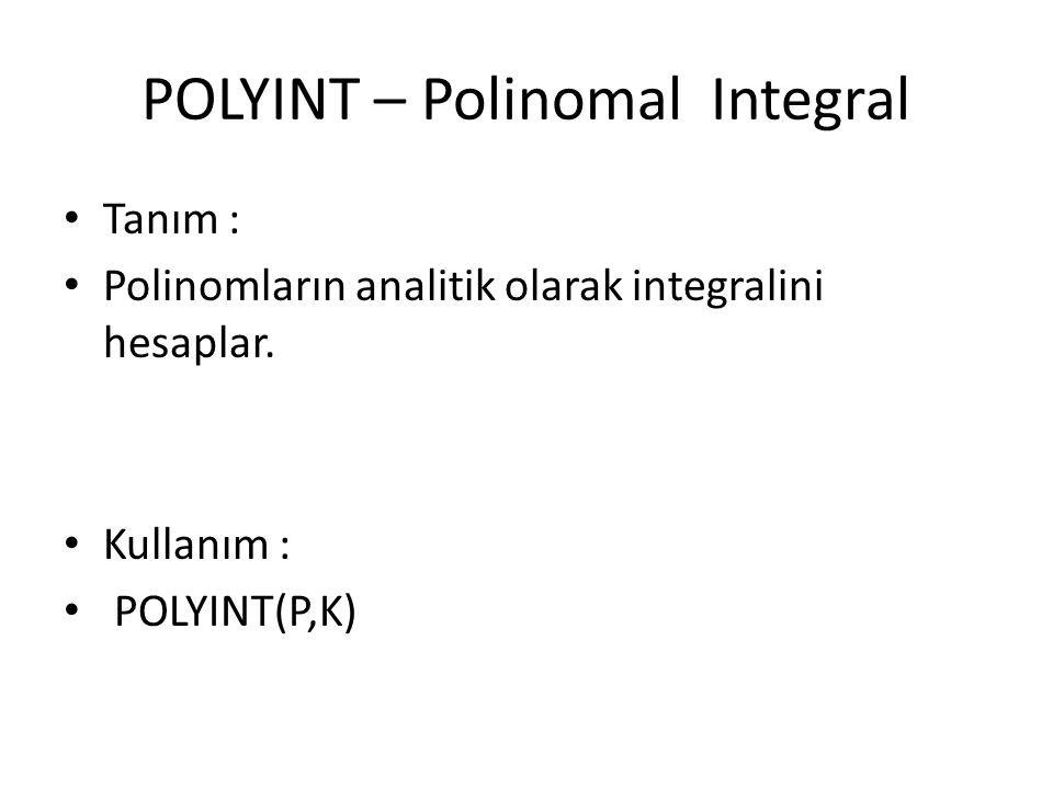 POLYINT – Polinomal Integral