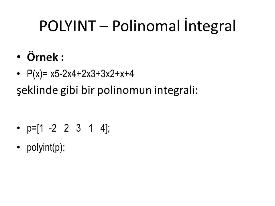 POLYINT – Polinomal İntegral