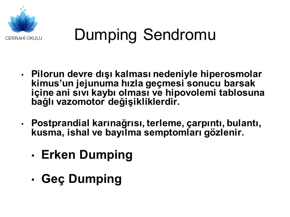 Dumping Sendromu Erken Dumping Geç Dumping