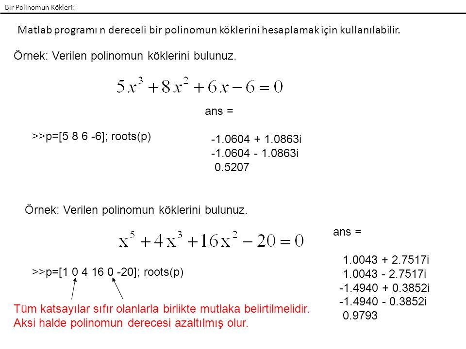 Örnek: Verilen polinomun köklerini bulunuz.
