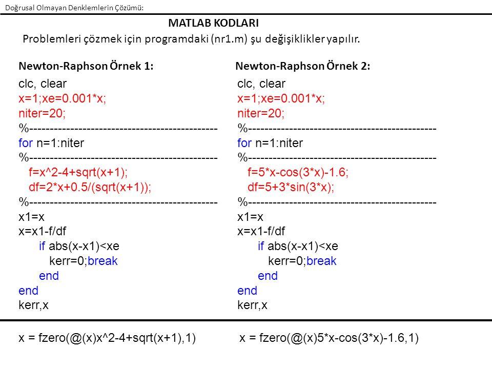 Problemleri çözmek için programdaki (nr1.m) şu değişiklikler yapılır.